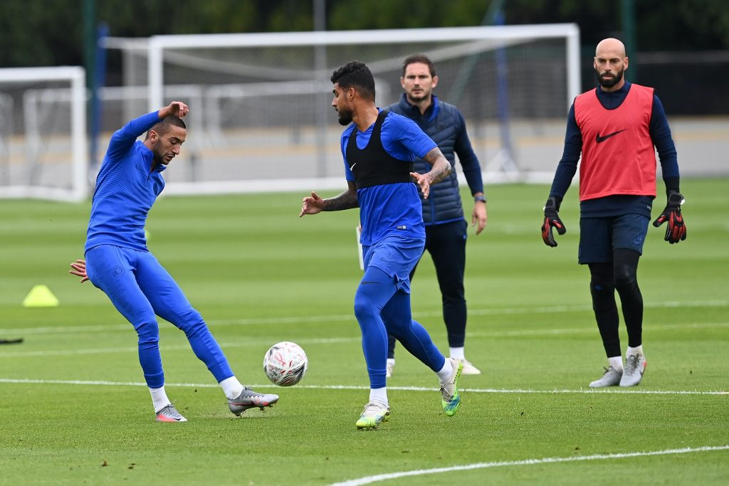 New Chelsea signing Hakim Ziyech took part in his first full group training session with his new teammates