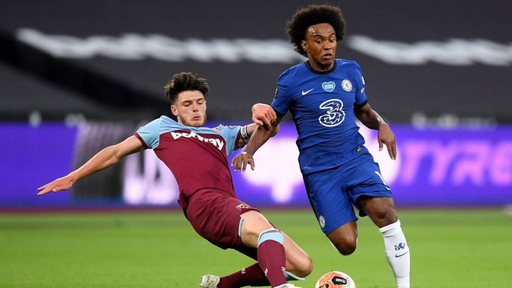 Declan Rice in action against Willian
