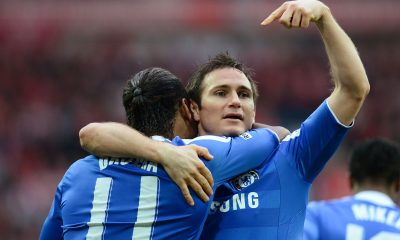LONDON, ENGLAND - MAY 05: Didier Drogba of Chelsea celebrates with Frank Lampard as he scores their second goal during the FA Cup with Budweiser Final match between Liverpool and Chelsea at Wembley Stadium on May 5, 2012 in London, England. (Photo by Shaun Botterill/Getty Images)