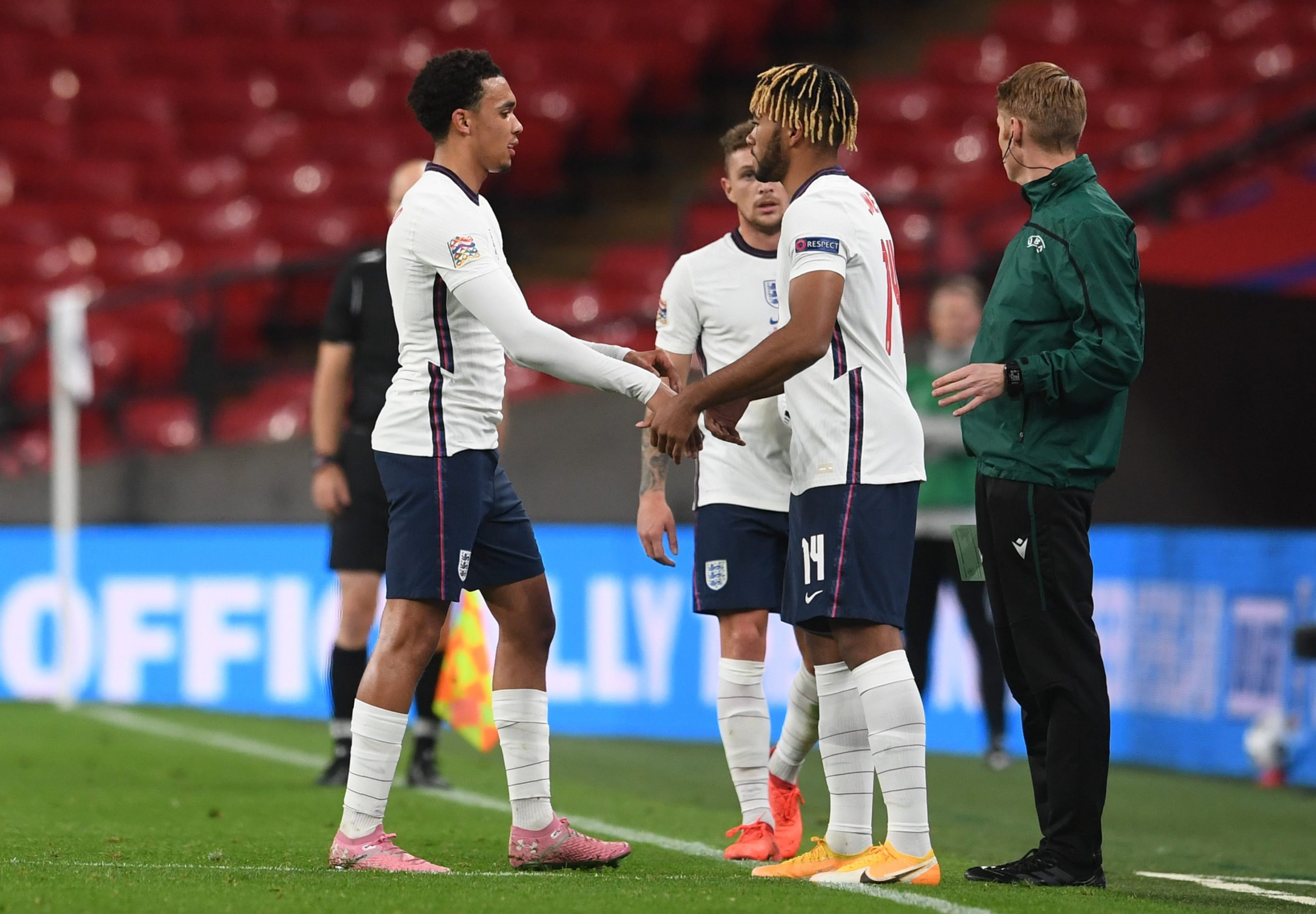 LONDON, ENGLAND - OCTOBER 11: Trent Alexander-Arnold of England is replaced by Reece James of England during the UEFA Nations League group stage match between England and Belgium at Wembley Stadium on October 11, 2020 in London, England. Football Stadiums around Europe remain empty due to the Coronavirus Pandemic as Government social distancing laws prohibit fans inside venues resulting in fixtures being played behind closed doors. (Photo by Neil Hall - Pool/Getty Images)