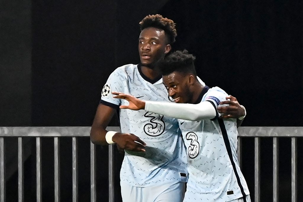 Chelsea winger Callum Hudson-Odoi celebrating a goal against Stade Rennais in the Champions League this season. (GETTY Images)