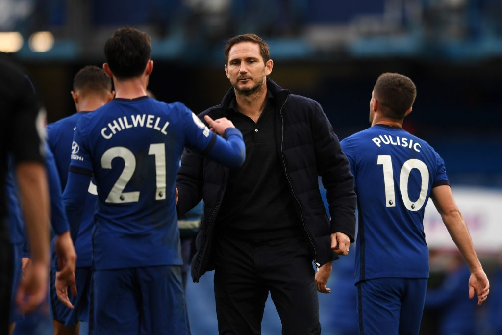 Frank Lampard with Chelsea left-back Ben Chilwell. (GETTY Images)
