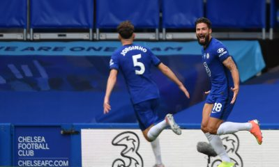 Chelsea midfielder Jorginho has spoken about the joy he felt seeing Olivier Giroud his first goal in the Champions League this season. (GETTY Images)