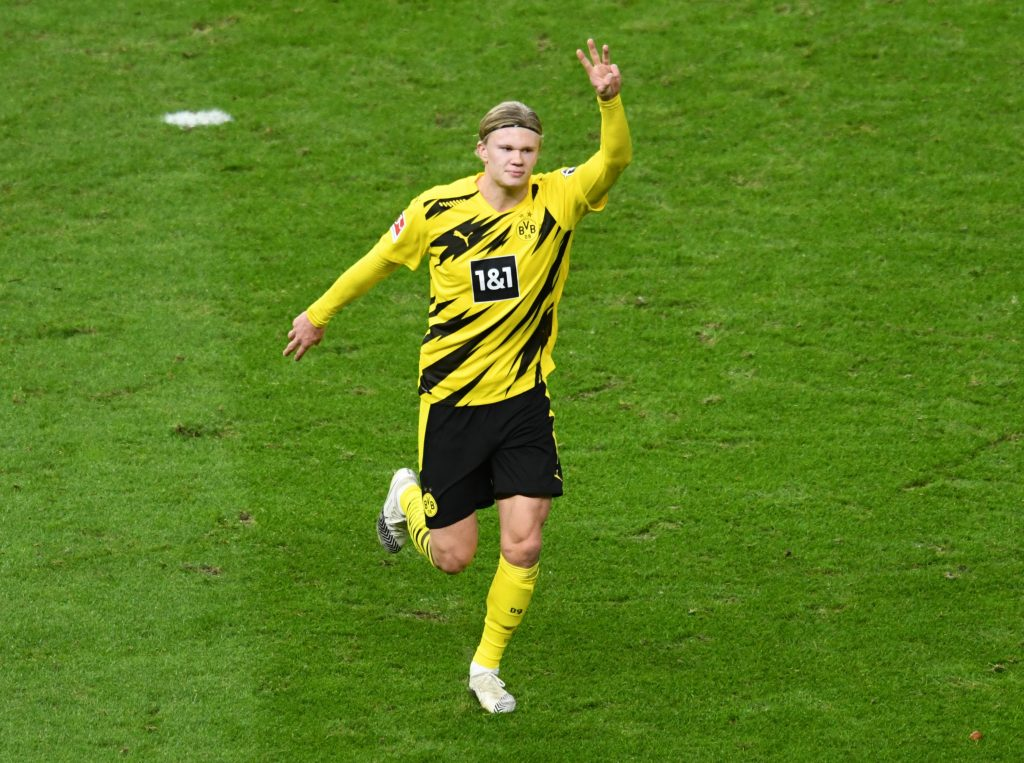 Erling Haaland celebrates after scoring for Borussia Dortmund. (GETTY Images)