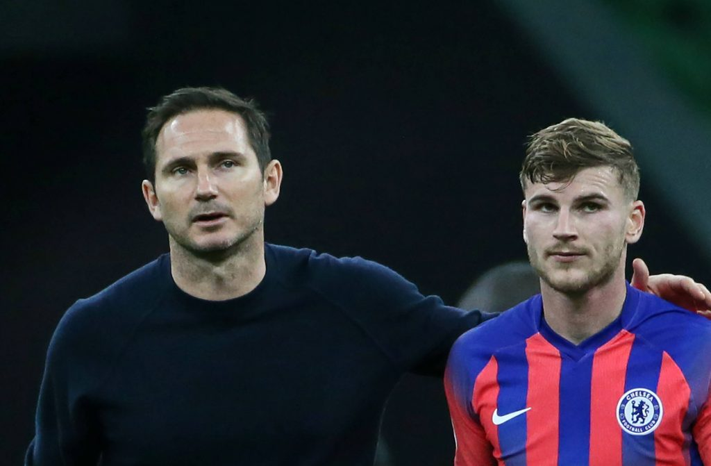 Timo Werner with Chelsea manager Frank Lampard in the UEFA Champions League. (Dmitry Feoktistov/TASS PUBLICATION via imago Images)