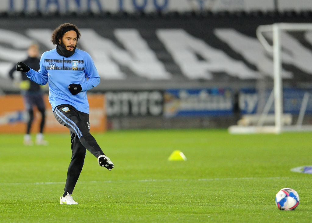 SWANSEA, WALES - NOVEMBER 25: Sheffield Wednesday's Isaiah Brown during the pre-match warm-up during the Sky Bet Championship match between Swansea City and Sheffield Wednesday at Liberty Stadium on November 25, 2020 in Swansea, Wales. (Photo by Ian Cook - CameraSport via Getty Images)