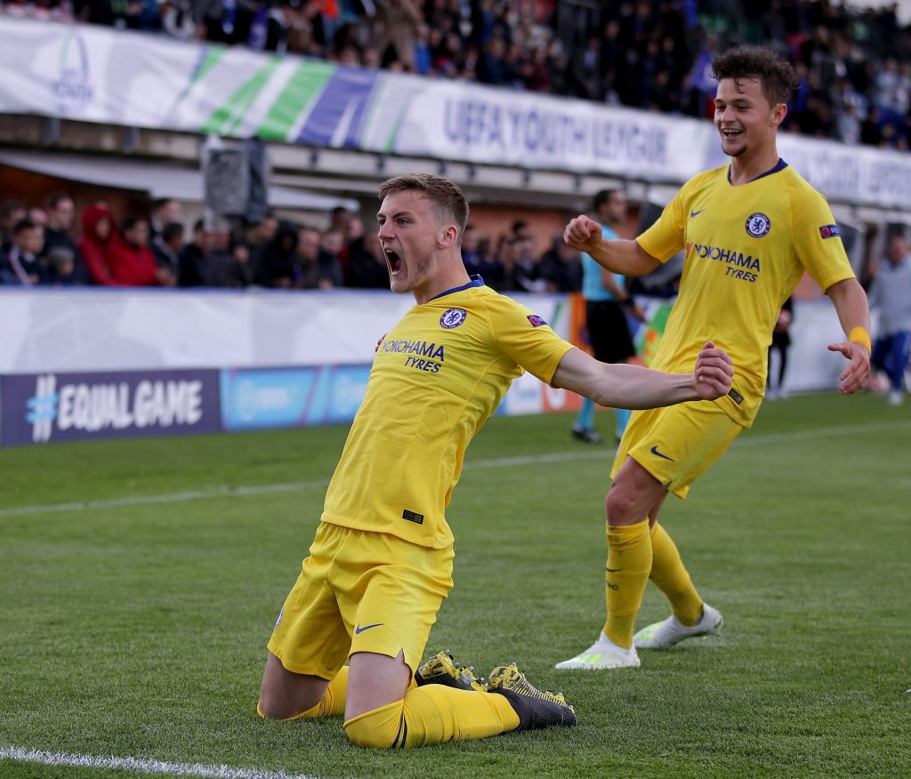 Charlie Brown celebrates after scoring for Chelsea against Barcelona in the UEFA Youth League. (GETTY Images)