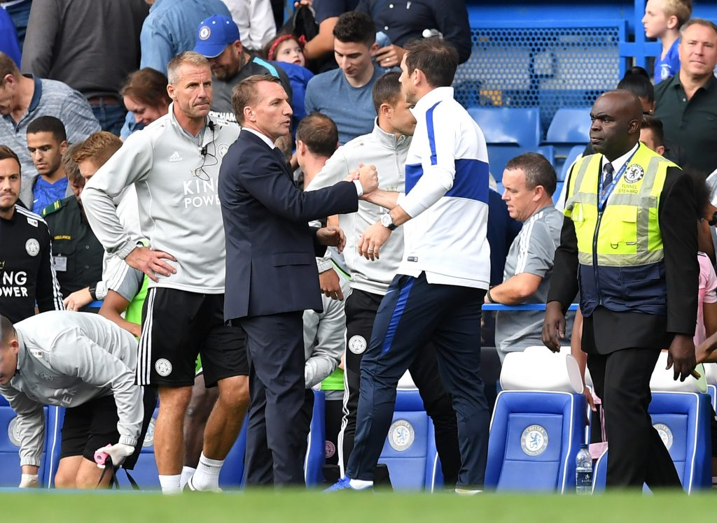 Brendan Rodgers with Frank Lampard on the touchline at Stamford Bridge. (GETTY Images)