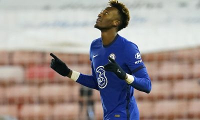 Tammy Abraham celebrates scoring a goal for Chelsea. (GETTY Images)