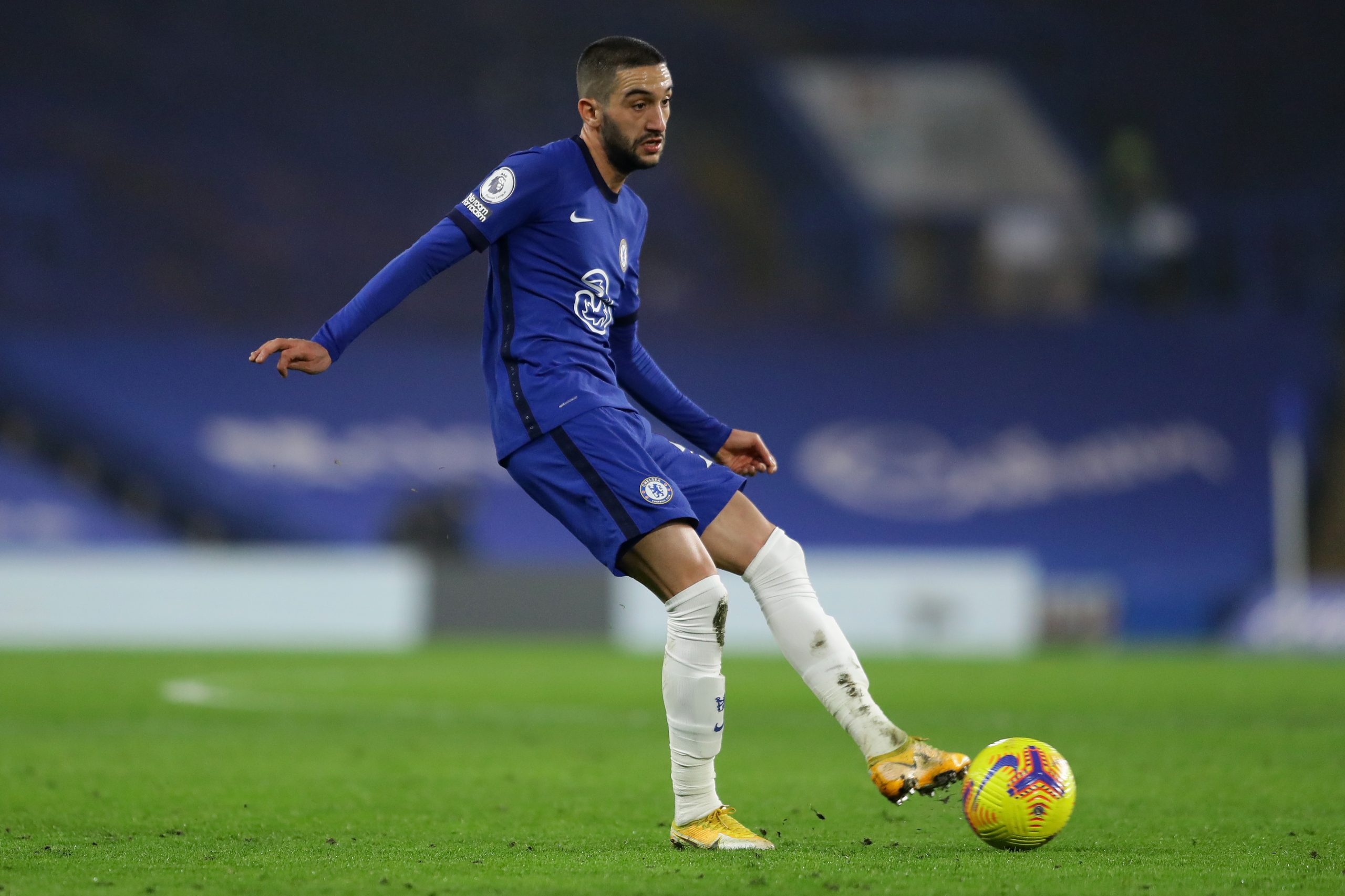Hakim Ziyech of Chelsea in action during the Premier League match