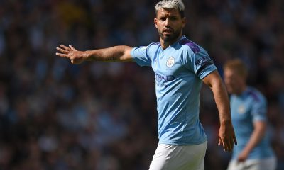 Sergio Aguero in action for Manchester City.
