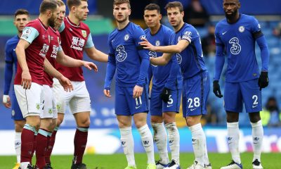 Timo Werner, Thiago Silva, Cesar Azpilicueta and Antonio Rudiger of Chelsea prepare for a corner kick during the Premier League match between Chelsea and Burnley at Stamford Bridge on January 31, 2021 in London, England.
