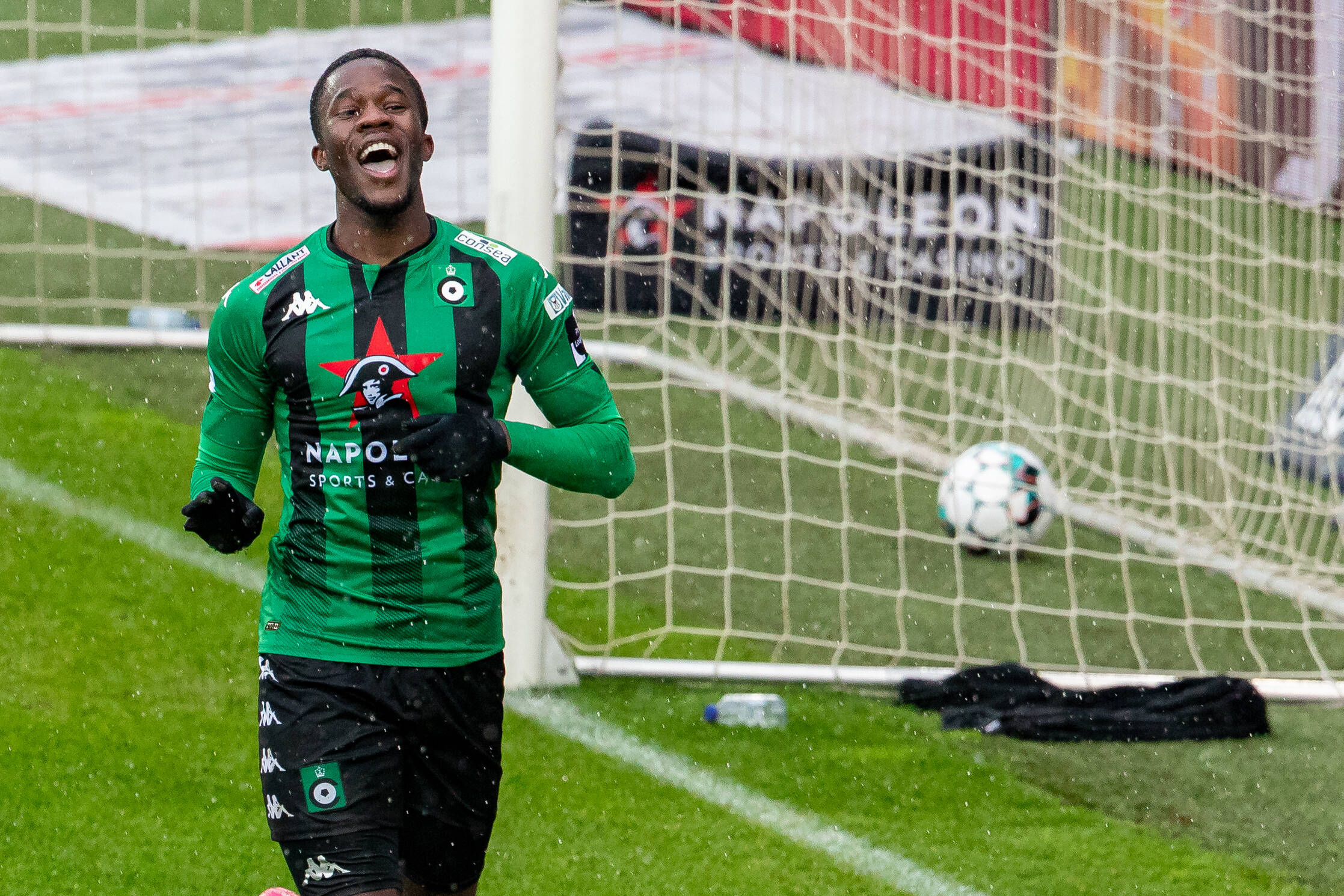 Cercle s Ike Ugbo celebrates after scoring during a soccer match between Cercle Brugge and Oud-Heverlee Leuven, Saturday 10 April 2021 in Brugge, on day 33 of the Jupiler Pro League first division of the Belgian championship. KURTxDESPLENTER PUBLICATIONxINxGERxSUIxAUTxONLY x2690737x