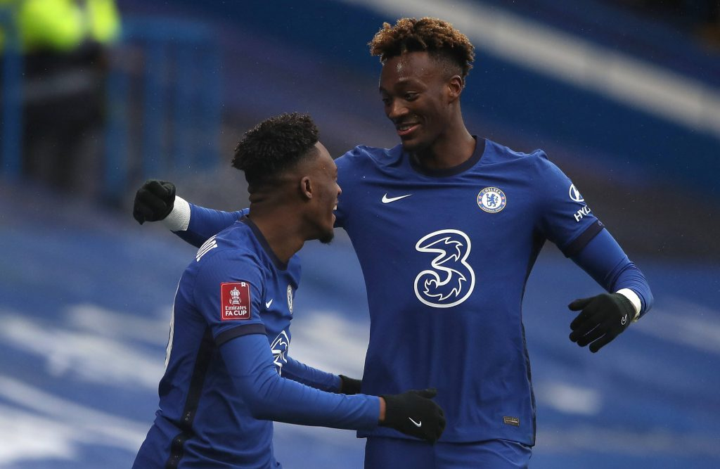 Callum Hudson-Odoi and Tammy Abraham in action for Chelsea against Luton Town. (imago Images)