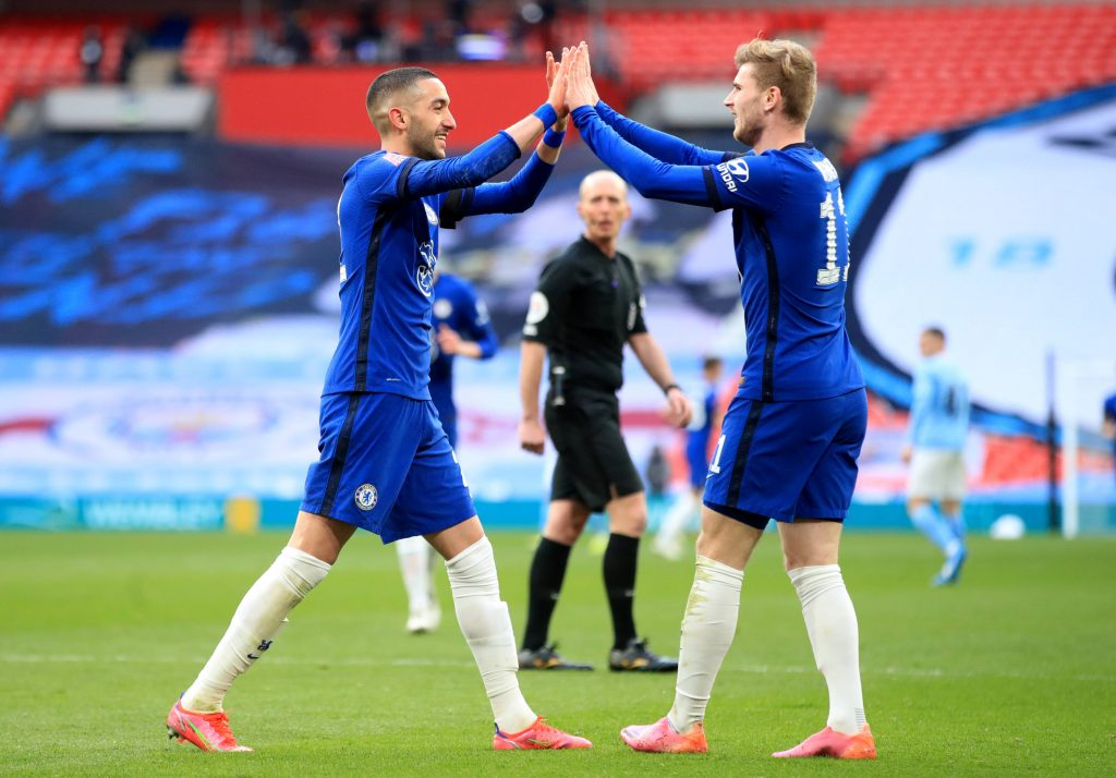 Timo Werner and Hakim Ziyech combined to score a goal for Chelsea in the FA Cup semi-final against Manchester City. (imago Images)