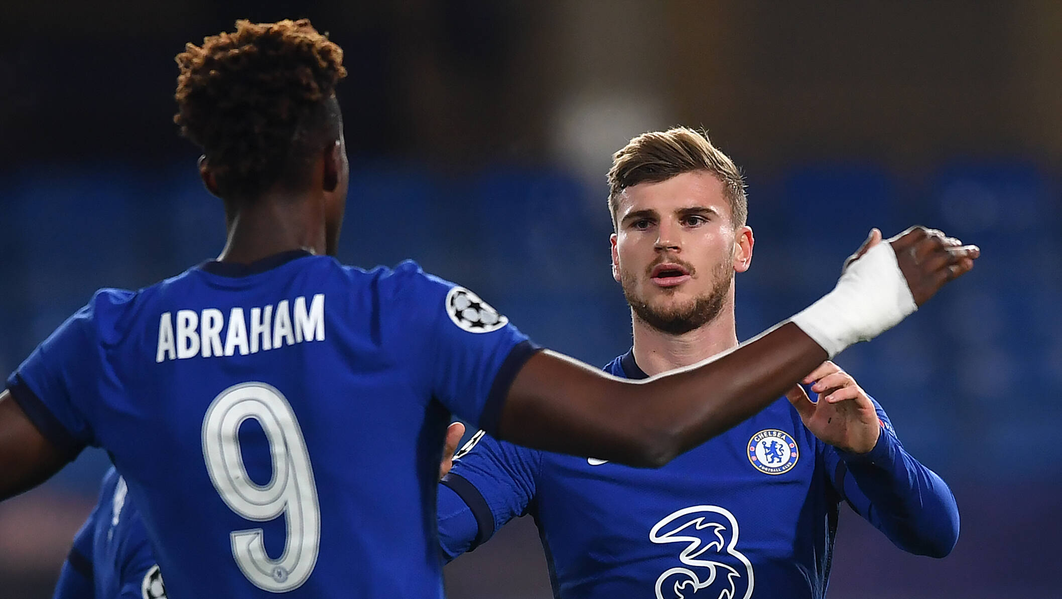 Tammy Abraham and Timo Werner in action for Chelsea last season.