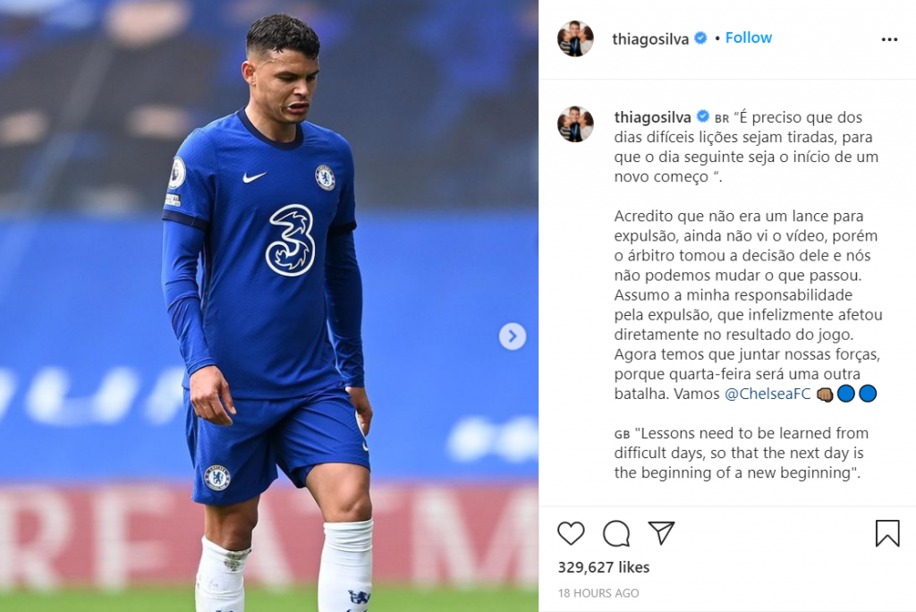 Chelsea star, Thiago Silva, apologized for his red card against West Brom.