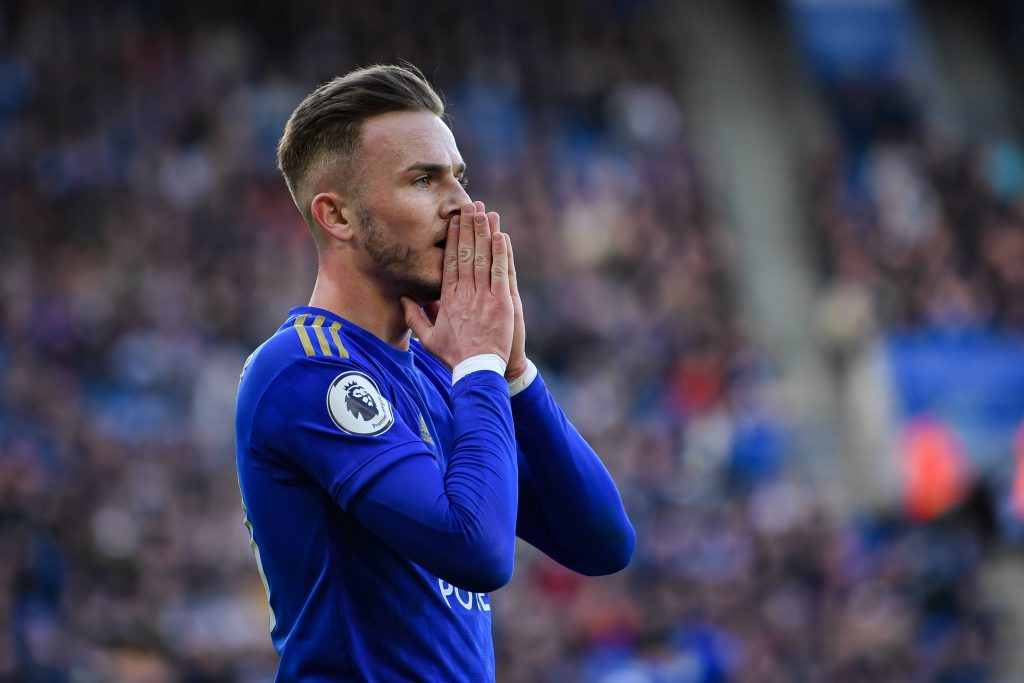 James Maddison in action for Leicester City against Chelsea.