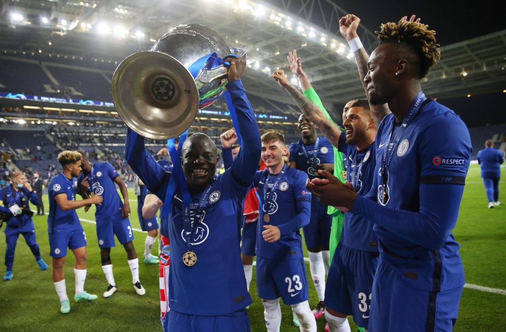N'Golo Kante with the UCL trophy.