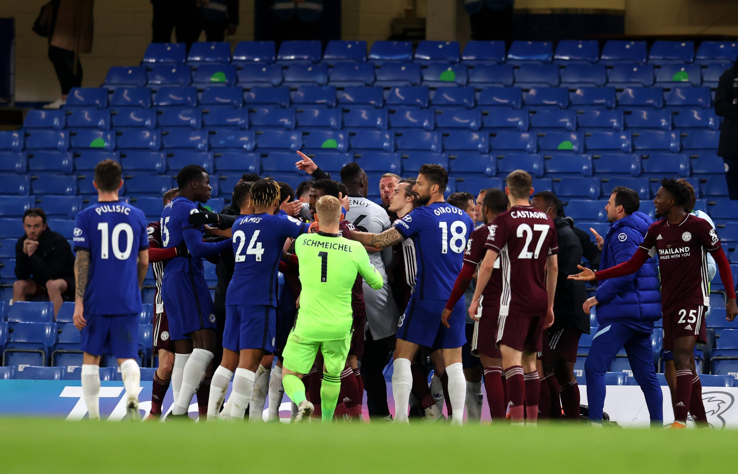 Tempers flare in Chelsea v Leicester City at Stamford Bridge.