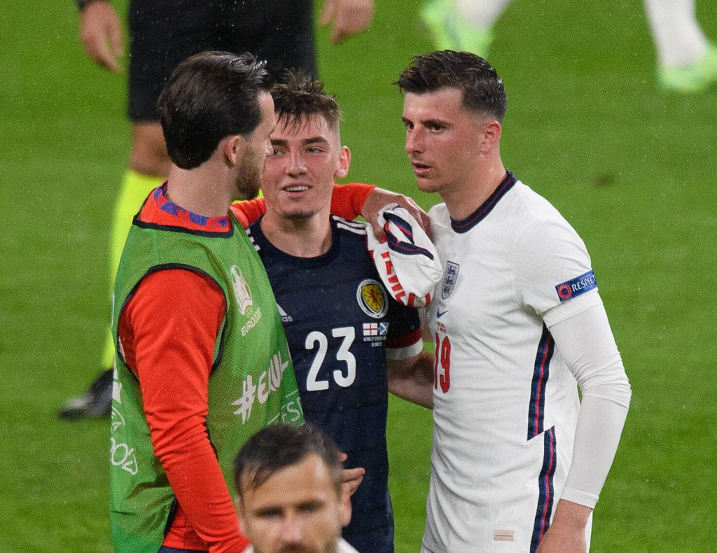 Mason Mount, Ben Chilwell, and Billy Gilmour after England and Scotland drew 0-0 at UEFA Euros.