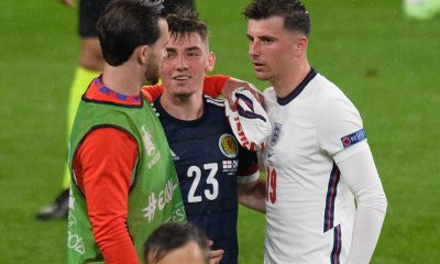 Mason Moun, Ben Chilwell, and Billy Gilmour after England and Scotland drew 0-0 at UEFA Euros.