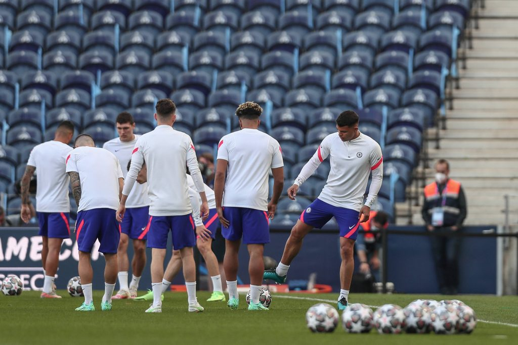 Chelsea training for the UEFA Champions League final.