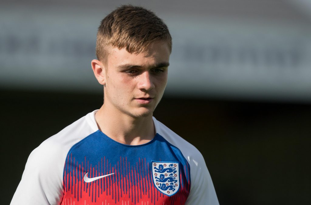 Lewis Bate in action for the England youth team.