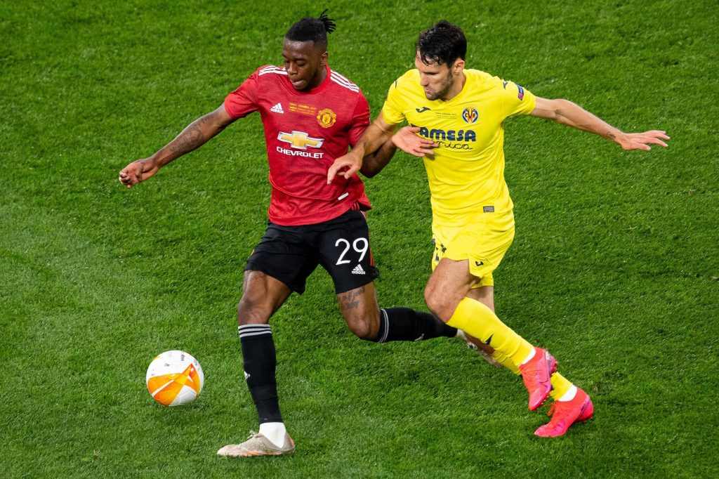 Alfonso Pedraza of Villarreal in action against Manchester United in the 2021 UEFA Europa League final, which his team won.
