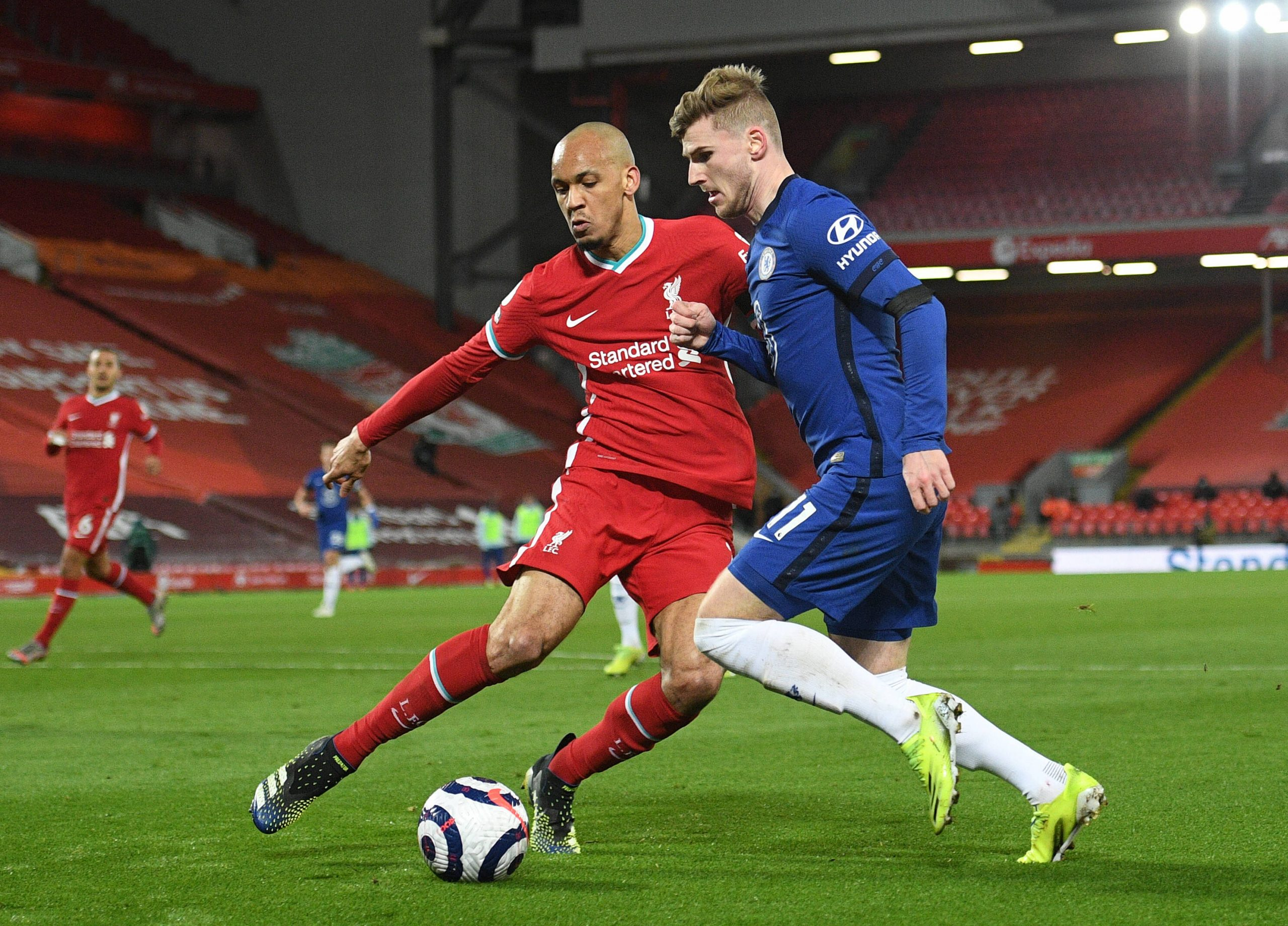 Fabinho of Liverpool in action against Chelsea in the Premier League.