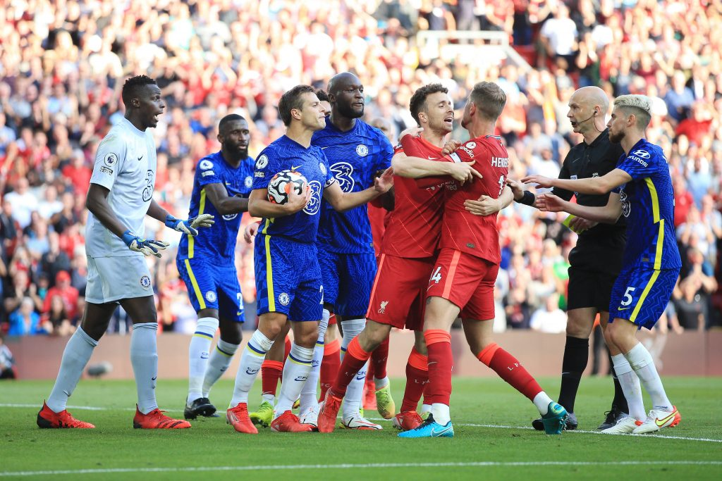 Romelu Lukaku was involved in heated exchanges at Anfield.