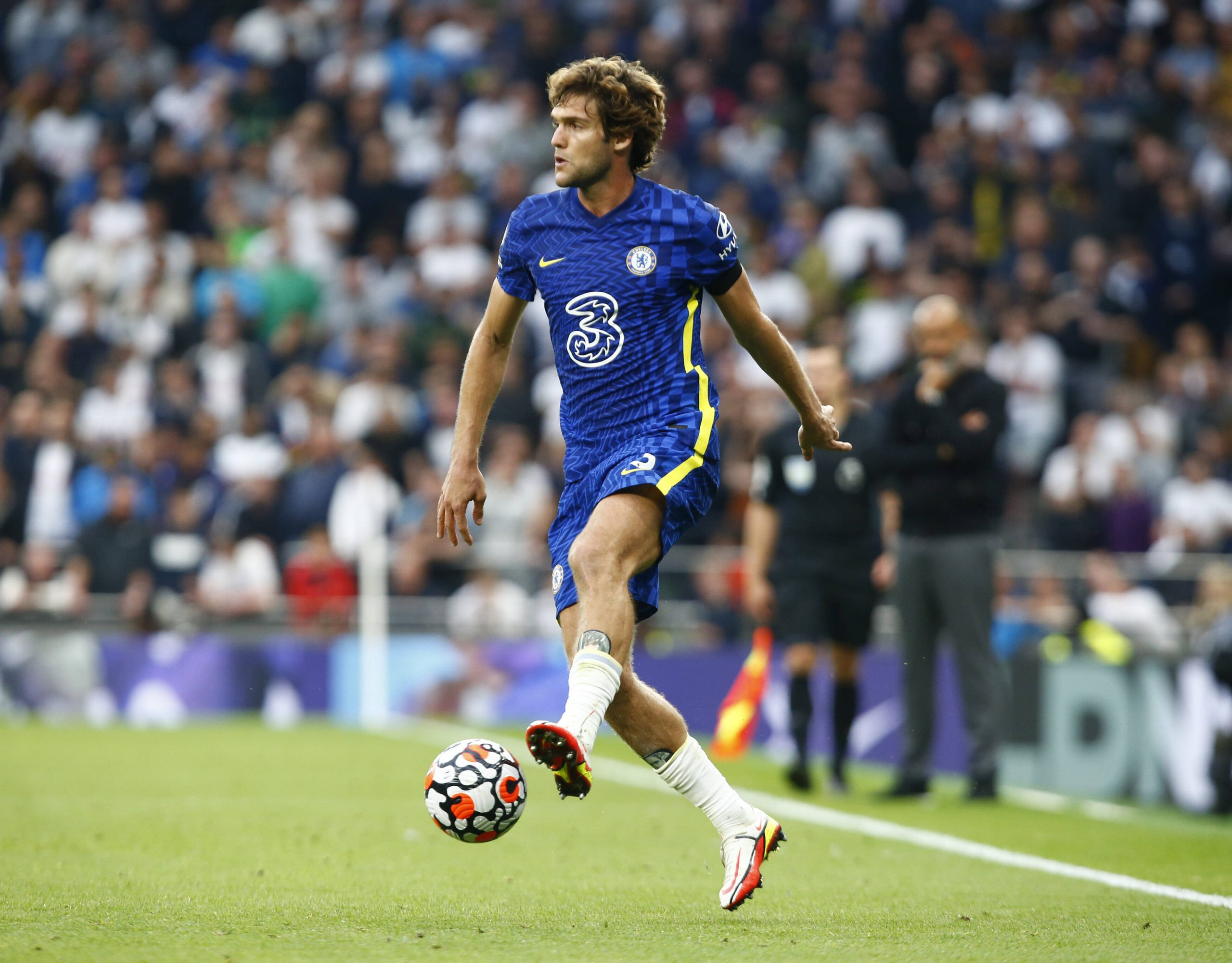 Marcos Alonso in action for Chelsea.