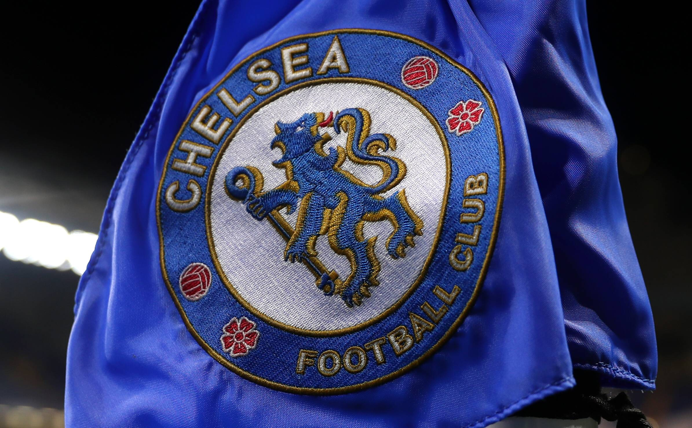 Chelsea logo as seen on a corner flag in a game against Swansea City.