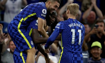 Timo Werner and Romelu Lukaku in action for Chelsea.