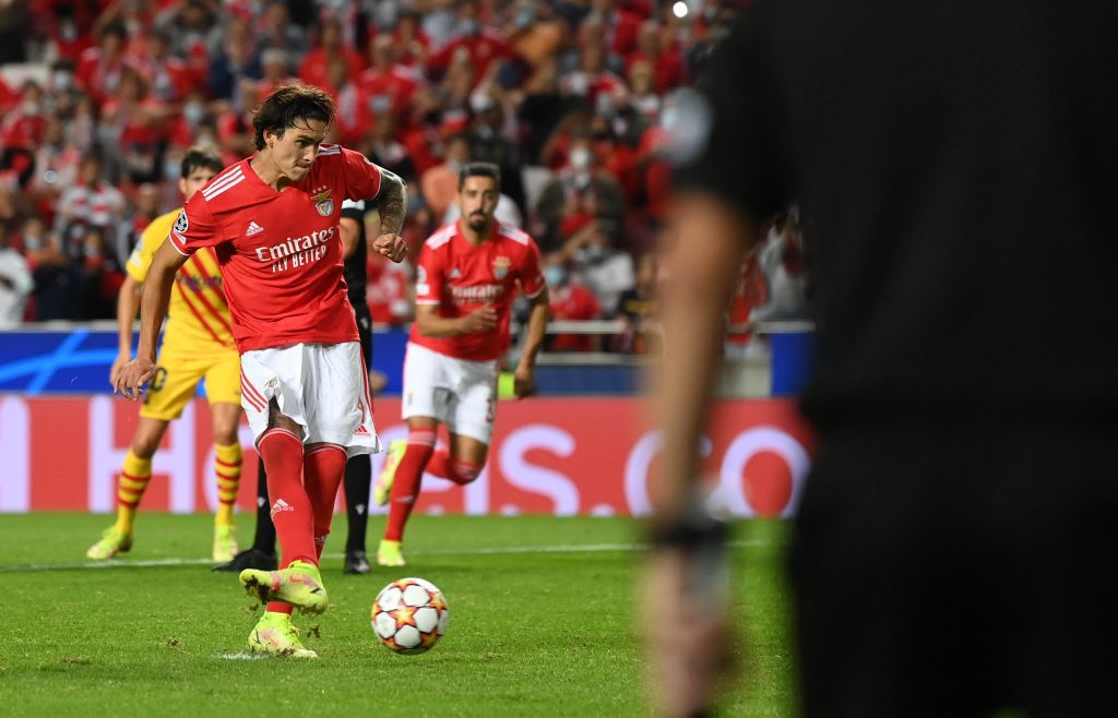 Darwin Nunez of SL Benfica scores his sides second goal from a penalty with Rafa during the UEFA Champions League group E match between SL Benfica and FC Barcelona.
