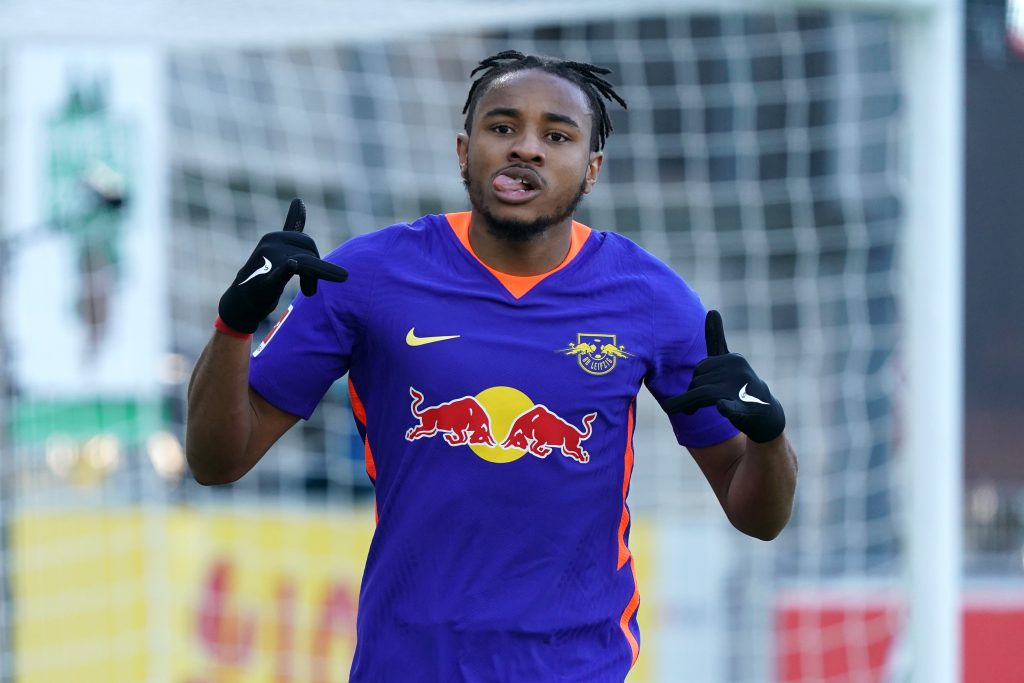 Christopher Nkunku of RB Leipzig is on the transfer radar of Chelsea, Manchester City, and Real Madrid. (Photo by Thomas Niedermueller/Getty Images)